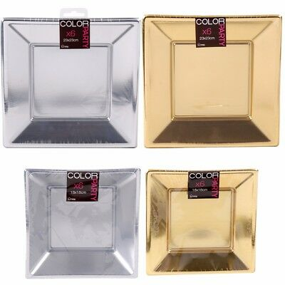 SQUARE METALLIC PARTY PLATES Gold & Silver Small-Large Event Catering Tableware