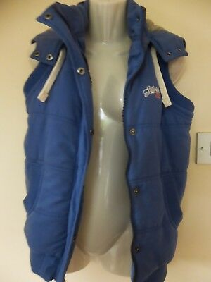 Saltrock Ladies blue gilet with a hood. Size 10