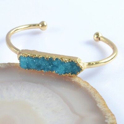 Blue Agate Druzy Geode Bangle Gold Plated H103736