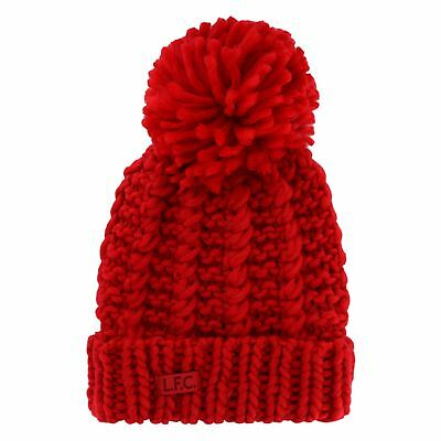 Liverpool FC LFC Womens Red Cable Knit Beanie Official