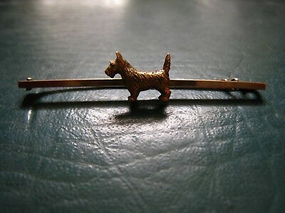 15Ct Gold Scotty Dog Tie Pin Vintage, Stamped 15Ct Rear
