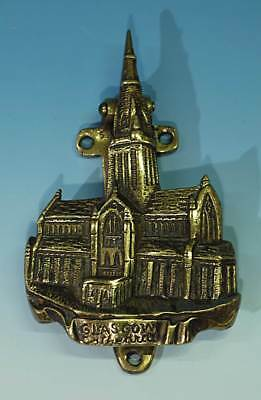 Vintage Brass Door Knocker In The Form of Glasgow Cathedral Circa 1920-30.