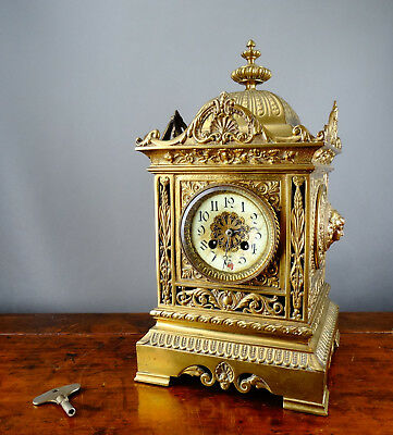 Antique Victorian French Brass Mantel Clock by Samuel Marti Bell Striking 8 Day