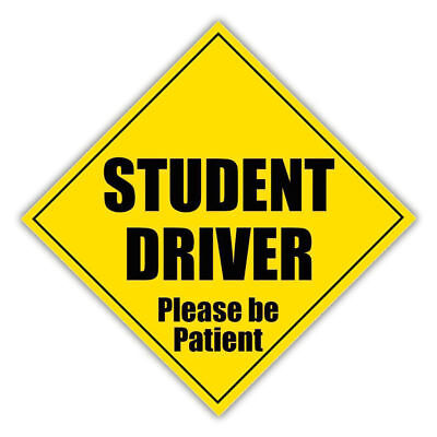 STUDENT DRIVER Please Be Patient Car Sticker Yellow Warning Decal Reflective