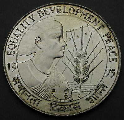 INDIA 50 Rupees 1975 - Silver - Women's Year - aUNC - 448