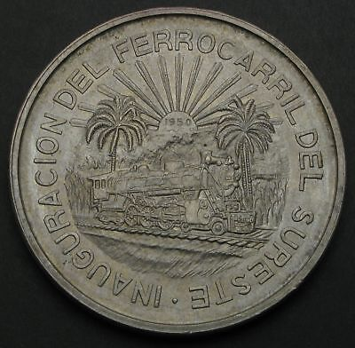 MEXICO 5 Pesos 1950 - Silver - Opening of Southern Railroad - aUNC - 452