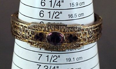 Filigree Antique Hinged Bangle Purple Rhinestone & Enamel Size 7 1920s