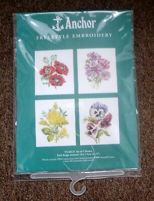 Coats Anchor Freestyle Embroidery Kit Set of 4 Flowers T3120125 Unused