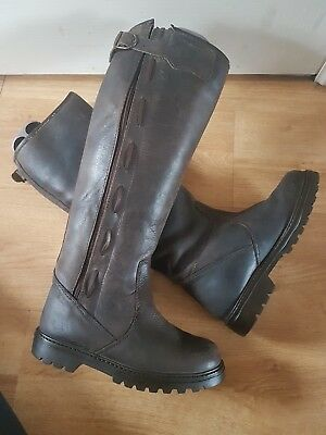 Dark Brown Long Leather Riding Muck Out Walking Boots