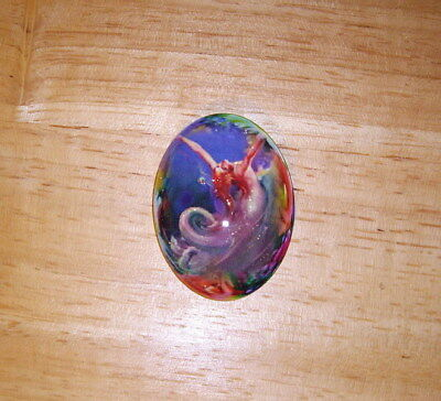 Mermaid In A Bubble 30X40mm Glitter Unset Handmade Art Bubble Cameo Cabochon