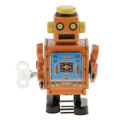 Retro Classic Wind-Up Walking Robot Model Mechanical Crafts Clockwork Toy
