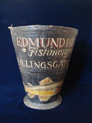 """A Vintage Painted Wood Coopered Bucket, """"fishmongers, E. Heap""""."""