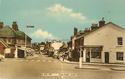 Surrey Ewell Cross Roads Vintage Postcard 20.10