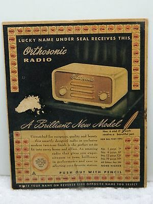Vintage ORTHOSONIC RADIO Punch Card Gambling 1c Cent Game All Punches Unused