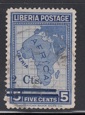 Liberia # 290B Postally USED 1944 BLUE Surcharge ABNCo Map