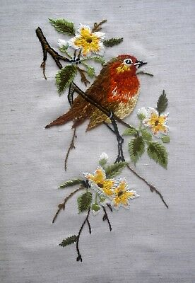 Vintage Hand Embroidered Linen Picture Unframed Christmas Winter Robin