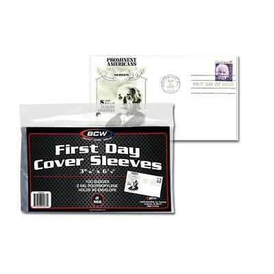 100 First Day Cover Poly Sleeves, For #6-3/4 Covers, Crystal Clear, Bcw Brand