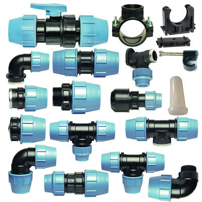 MDPE Plastic Compression Fitting 25mm O/D PE100 LDPE Water Pipe WRAS Approved