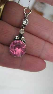 Lovely Georgian Pink Foiled Diamond Paste Silver Closed Back Pendant