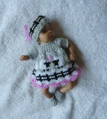"""Hand knitted doll clothes to fit 6.5"""" ooak"""