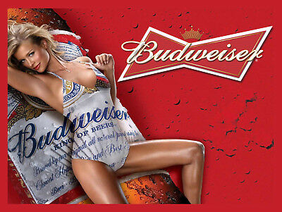 Budweiser Girl, Retro Metal Plaque/Sign Pub, Bar, Man Cave Novelty Gift