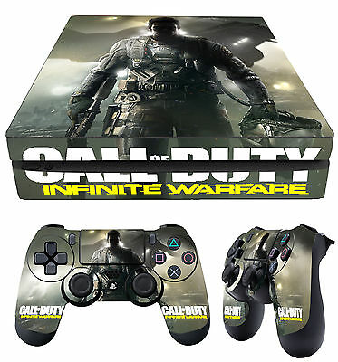 PS4 SLIM Skin Call Of Duty Infinite Warfare 01 COD Sticker + 2 Pad Vinyls laid