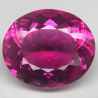 VERY LARGE 20x17.5mm OVAL-FACET PINK/RED NATURAL BRAZILIAN TOPAZ GEMSTONE