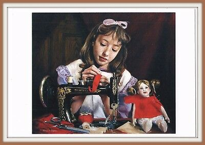 Dress f/ Doll Girl Seamstress RETRO SEWING MACHINE Art Belarusian Postcard modrn