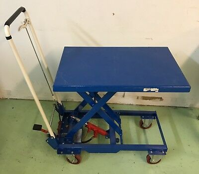 Mobile Scissor Lift Table with Folding Handle 330 Lb. Capacity - 27 x 17 Platfor
