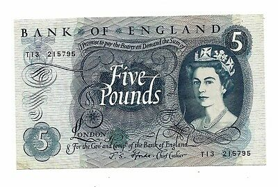 Bank of England (P375b) 5 Pounds 1966 Fforde aVF