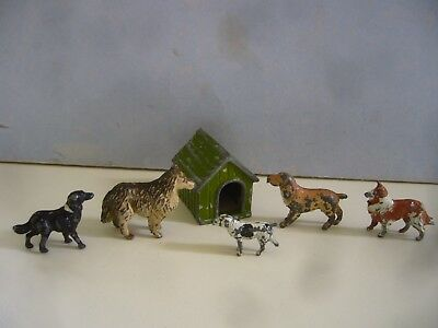 Vintage Lead F G Taylor Kennel & Dogs By Britains Timpo Etc Farm Coster Garden