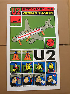 U2 rare 2000 Chuck Sperry VIRGIN Ltd Ed 2,500 Rock Poster Litho SAFETY ON BOARD