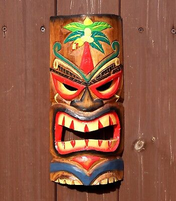 Large 30cm Hand Carved Painted Tiki Hawaiian Wall Hanging Mask Face
