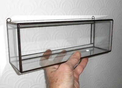 Collector's display case - wall hanging - glass sides with copper edging