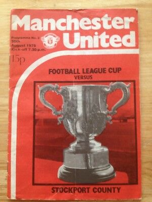 Manchester United v Stockport County (Football League Cup) 30th August 1978  **F