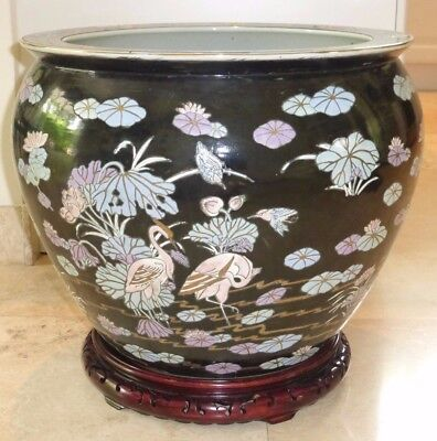 Outstanding Large And Heavy Vintage Chinese Pottery Fish Bowl Planter