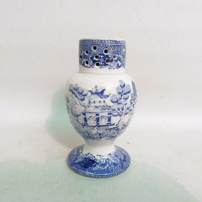 Early 19Th Century Staffordshire Blue & White Willow Pearlware Pepper Pot