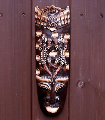 Bird & 2 Iguanas Hand Carved Tribal African Wall Hanging Mask Face 33cm Ethnic
