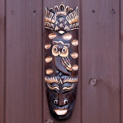 Bird & Owl Hand Carved Tribal African Wall Hanging Mask Face 33cm Ethnic