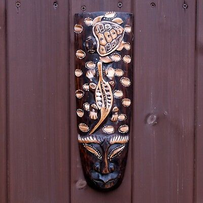 Turtle & Iguana Hand Carved Tribal African Wall Hanging Mask Face 33cm Ethnic