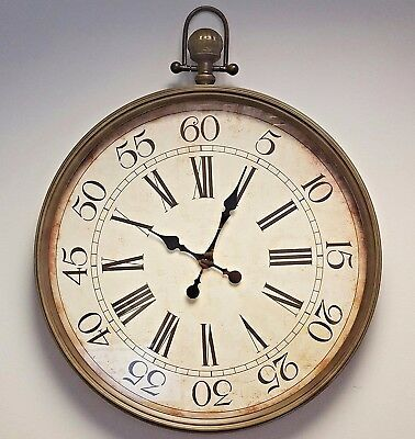 Large Wall Fob Clock Vintage Pocket Style Metal Glass
