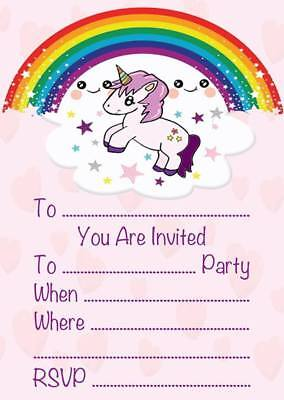 Unicorn Theme Childrens Birthday Party Invitations Kids Invites Rainbow
