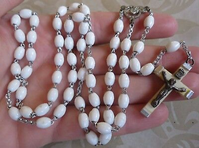 Lovely Vintage White Plastic Rosary Beads Christianity Religion Prayer (6775)