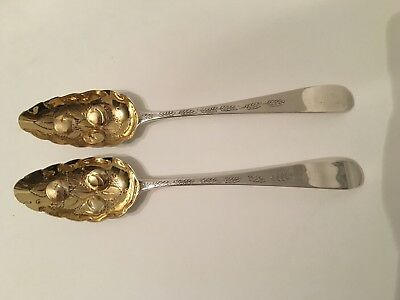 Antique Georgian Irish Pair Sterling Silver Guilded Berry Spoons James Brady1821