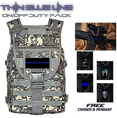 Law Enforcement THIN BLUE LINE Tactical Backpack MOLLE On/Off Duty Bag + GIFT