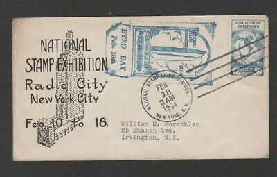 US 1934 Byrd Day  National Stamp Exhibition  souvenir cover -  unusual cachet