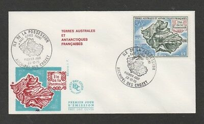 French Antarctic Territory  1970 Map issue - Crozet FDC