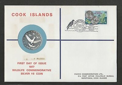 Cook Islands 1977  philatelic numismatic FDC with silver proof $5 coin