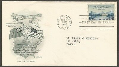 Us Fdc 1948 A Century Of Friendship 3C Stamp Artmaster First Day Of Issue Cover