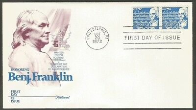 Us Fdc 1972 Benj Franklin 7C Stamp Fleetwood First Day Of Issue Cover Phil Pa